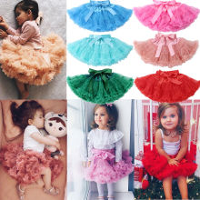 Летние милые Юбки принцессы для маленьких девочек вечерние кружевные однотонные юбки-пачки с эластичным поясом и бантом