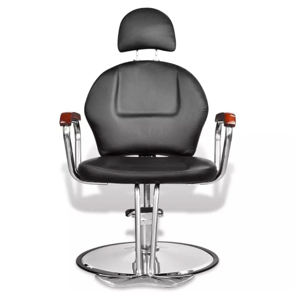 Chaise de Salon de beauté en simili cuir noir professionnel avec appuie-tête V3