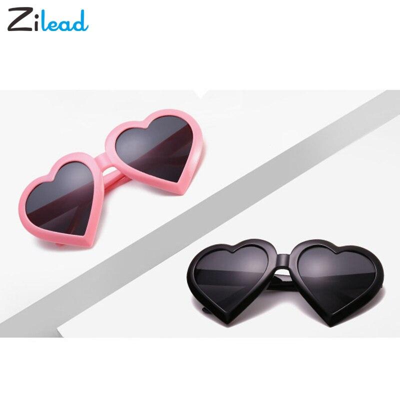 Zilead  Fashion Vacation Sexy Retro Glasses Big Cute Lovely Heart Sunglasses Women Brand Designer Eyewear Candy Color Eyewear