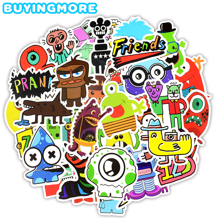50 PCS Monster Graffiti Stickers Toy For Children Funny Cartoon Doodle Robot Decal Sticker To DIY Skateboard Laptop Car Suitcase