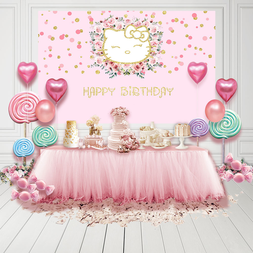 MEHOFOTO Photography Backdrop Pink Kitty Birthday Rainbow Point Flower Background Photo Shoot Photocall Photobooth Fabric Decor