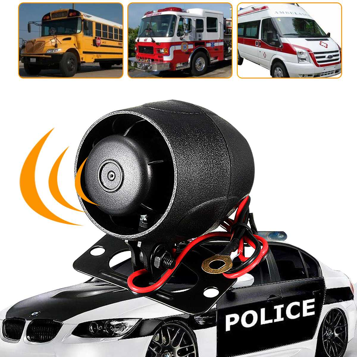 12V DC Car Van Truck Auto Black Vehicle Alarm Warning Siren Horn Security Bike Vehicle Alarm Warning Siren Horn Security