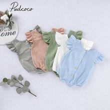 Летняя одежда для малышей, боди для маленьких девочек и мальчиков, однотонный комбинезон с оборками и короткими рукавами, топы, комбинезоны