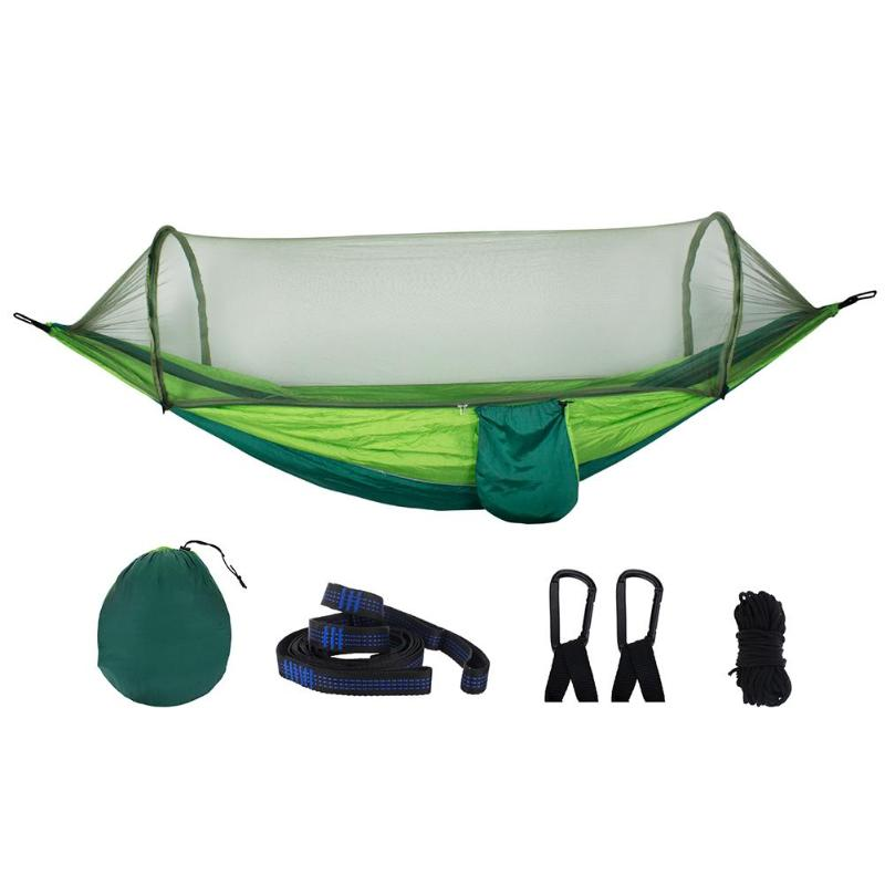Portable Outdoor Camping Hammock With Mosquito Net Parachute Fabric Tent + Mosquito Net