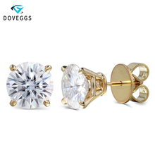 DovEggs Big Size 14K Yellow Gold 8CTW 10MM FG Color Moissanite Diamond Stud Earrings for Women Wedding Gift Push Back недорого
