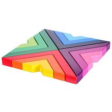 Wooden Rainbow Stacking Game Stacker Geometry Building Blocks Nesting Educational Toys Kids Toddlers