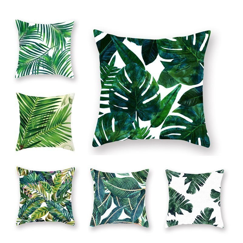 Pillow Cover Decorative Throw Leaves Square Tropical-Plants Green Polyester Poduszki