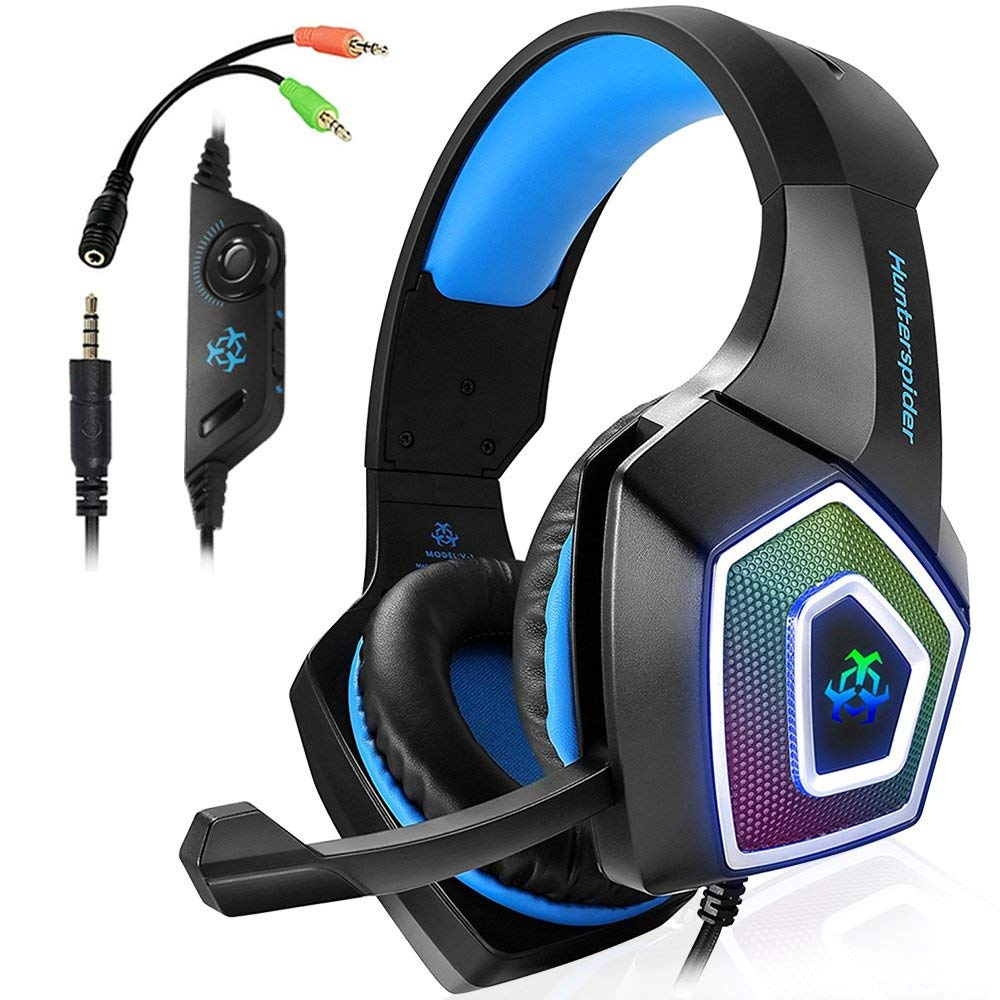 Hunterspider V1 Stereo Gaming Headset Deep Bass Over-Ear Game Headphone With Mic LED Light For PS4 PC
