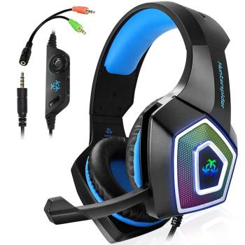 Hunterspider V1 Stereo Gaming Headset Deep Bass Over-Ear Game Headphone with Mic LED Light for PS4 PC ihens5 k2 usb 7 1 channel sound stereo gaming headphones over ear gamer headphone headset with mic led light for computer pc ps4