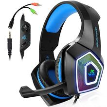 TTKK Hunterspider Gaming Headset For PS4, 3.5Mm Stereo Sound Cable With Microphone Colorful LED Light Headphones