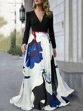 Women Floral Print V Neck High Waist Maxi Dress Fashion Elegant Long Sleeve Slim Temperament