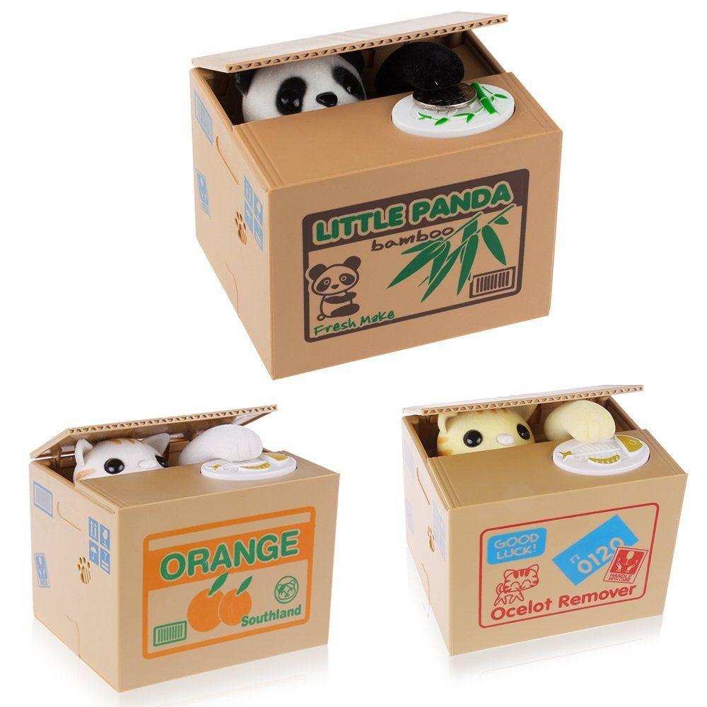 Коробка для денег в виде панды/желтого белого кота, большая копилка, автоматическая копилка, копилка для монет, копилка для денег, подарок дл...