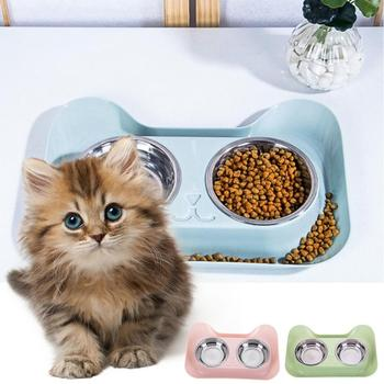Stainless Steel Double Bowls Food Water Feeder 1