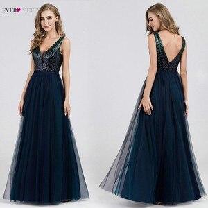 Image 1 - סקסי ערב שמלות אי פעם די EP07392NB נצנצים צווארון V הכחול כהה ארוך פורמליות שמלות 2020 Robe דה Soiree Paillette