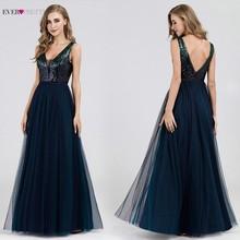 Seksowne suknie wieczorowe Ever Pretty EP07392NB Sequined line V Neck granatowe długie suknie galowe 2020 Robe De Soiree Paillette