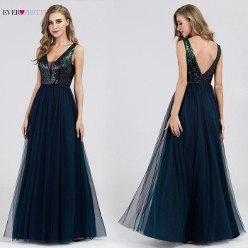 Sexy Evening Dresses Ever Pretty EP07392NB Sequined A-Line V-Neck Navy Blue Long Formal Dresses 2020 Robe De Soiree Paillette navy blue satin evening dresses ever pretty ep07934nb a line v neck elegant formal long dresses vestidos de fiesta de noche 2020