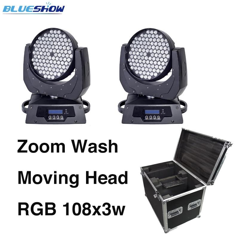 2pcs + flightcase, Zoom led lavado de cabeza móvil 108x3W RGBW etapa de luz Power corn club bar discoteca concierto boda fiesta dj