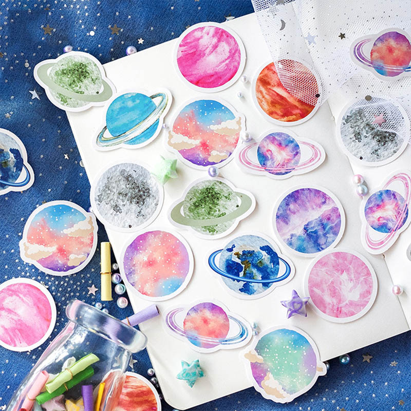 45pcs/box Planet Stickers Colorful Sky Decorative Adhesive Stationery Stickers Decorations Scrapbooking Diary Girls Diy Albums