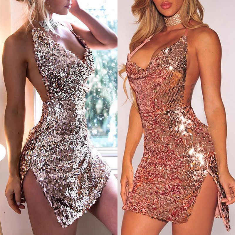 Diepe V-hals Herfst Rose Gold Lovertjes Backless Sexy Jurk Vrouwen Off Shoulder Mini Split Jurk Party Club Strap Jurken vestidos