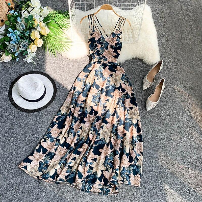 FTLZZ  2019 Women Floral Print Dress Summer Sexy V-neck Backless Long Dresses Female Elegant Bohemian Party Dress Vestido