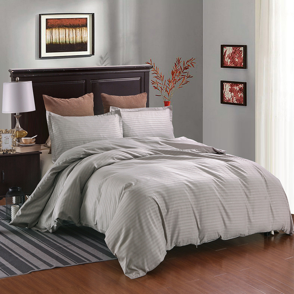 Pillowcase Quilt-Cover Light Satin-Strip Grey-Color Bedding-Set Solid School Hotel Soft