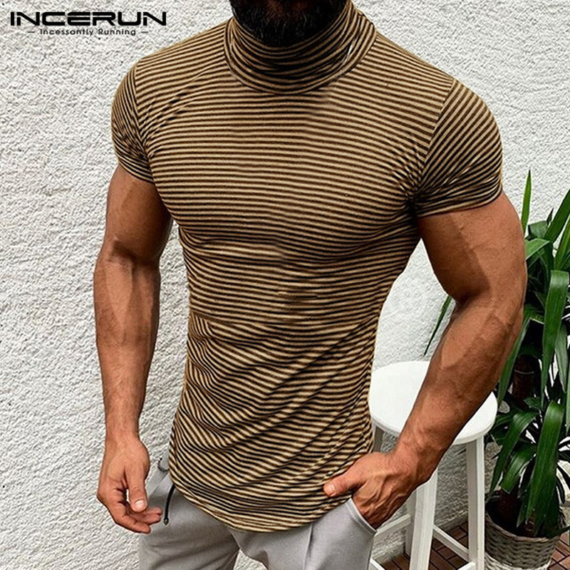 Plus Size 5XL Muscle Tee Men Tshirts Plain Striped Summer Clothes High Neck T Shirts Short Sleeve Slim Hombre Joggers Crossfit