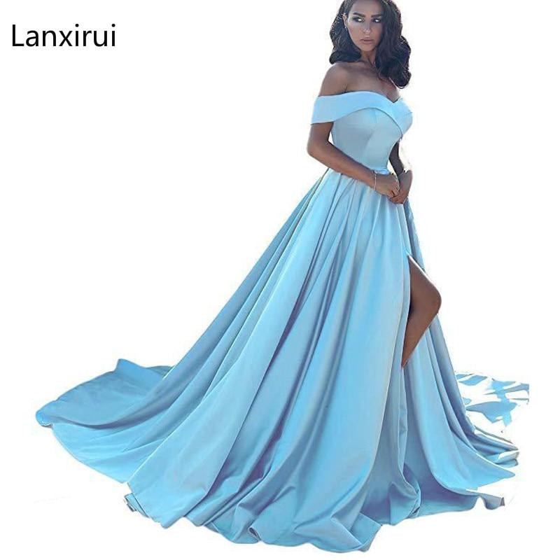 2019 Slash Neck Off Shoulder Floor-Length Dress Sexy Women High Waist Summer Pleated Wedding Party Dress Blue Elegant