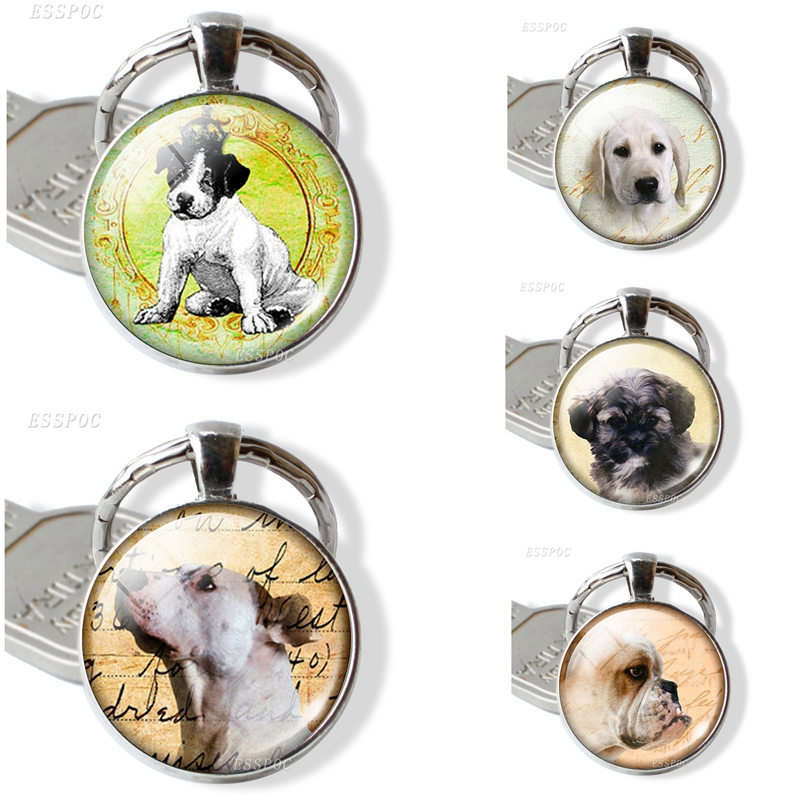 Dog Pendant Animal Key Chain Glass Dome Cabochon Jewelry Keychain Car Key Holder Pet Dog Cartoon Art Accessories Birthday Gift