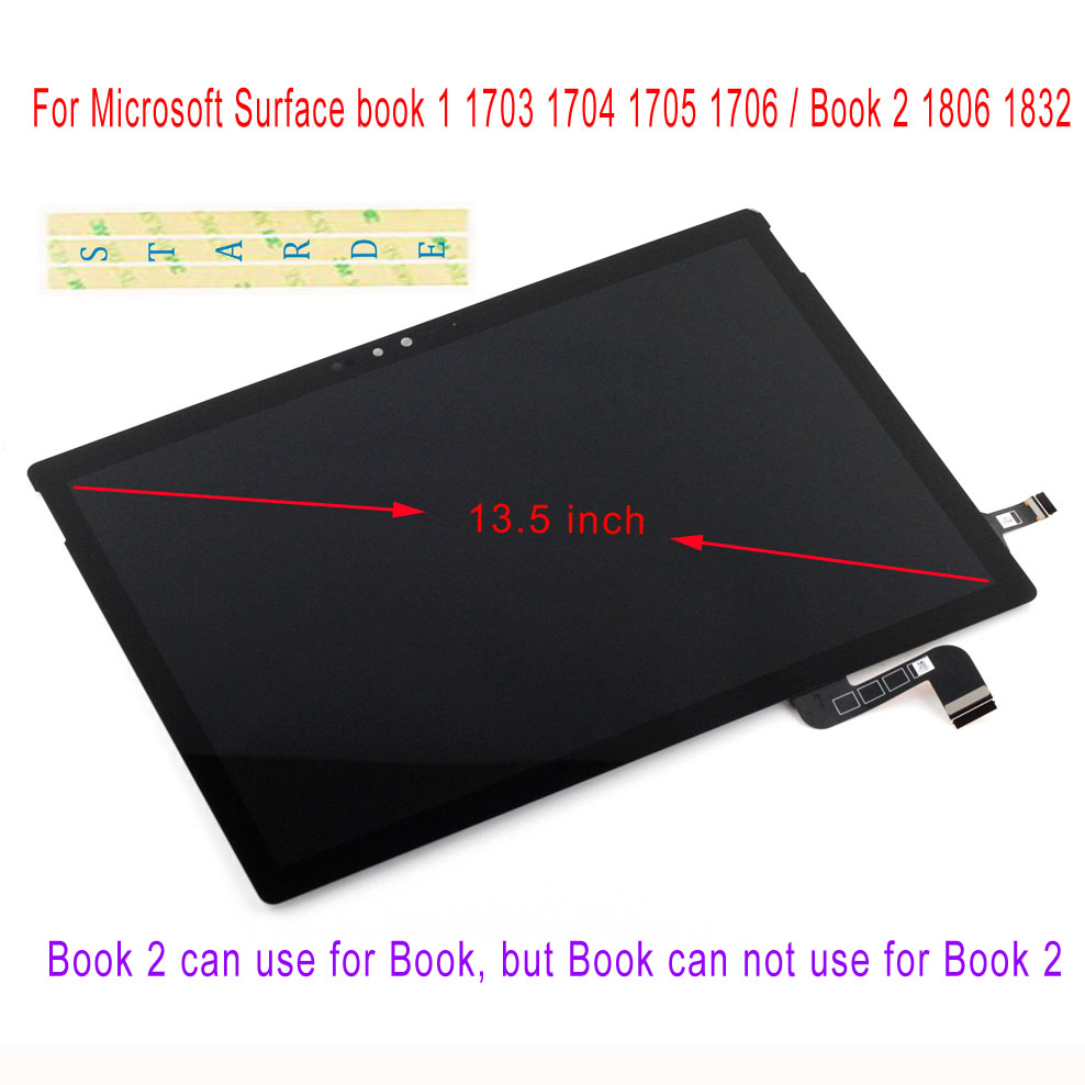 STARDE LCD For Microsoft Surface Book1 Book 1 1703 1704 1705 1706 Book2 1806 1832 LCD Display Touch Screen Digitizer AssemblySTARDE LCD For Microsoft Surface Book1 Book 1 1703 1704 1705 1706 Book2 1806 1832 LCD Display Touch Screen Digitizer Assembly