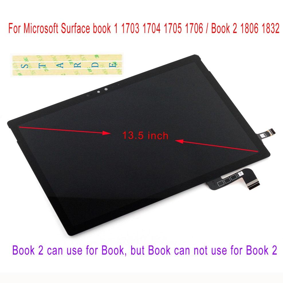 STARDE LCD pour Microsoft Surface Book1 livre 1 1703 1704 1705 1706 Book2 1806 1832 LCD écran tactile numériseur assemblée