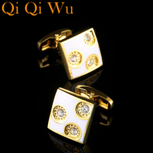 Luxury 2017 New Gold Shirt Cufflinks for Men Brand Cuff Buttons Wedding Gifts Cuff link High Quality Suit Sleeve Cuffs Jewelry  high quality movement tourbillon cuff links designer cufflinks stylish steampunk gear watch cuffs shirt sleeve buttons men