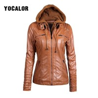 7XL Plus Size Faux Leather Basic Jacket Women Hoodies Winter Autumn Motorcycle Jackets Black Outerwear PU Jaket Coat Female Za