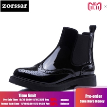Zorssar  Genuine Leather flat ankle boots women Chelsea boots 2018 New  autumn winter Womens 0345f1a10c4