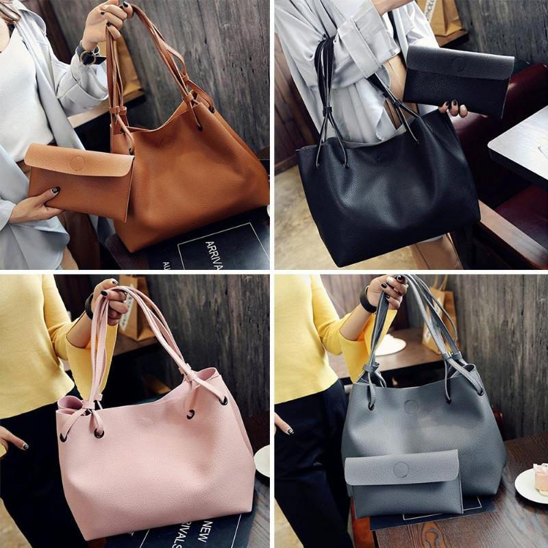 efacd04e2458 2pcs set maternity bag Diaper Bag Women Handbag PU Leather Clutch Sling Bag  Shoulder Top