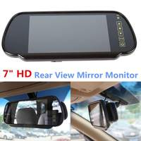 Universal 7 LCD TFT Color Screen Car Reverse Rear View DVD Mirror Monitor Connect To Backup Camera DC12 24V