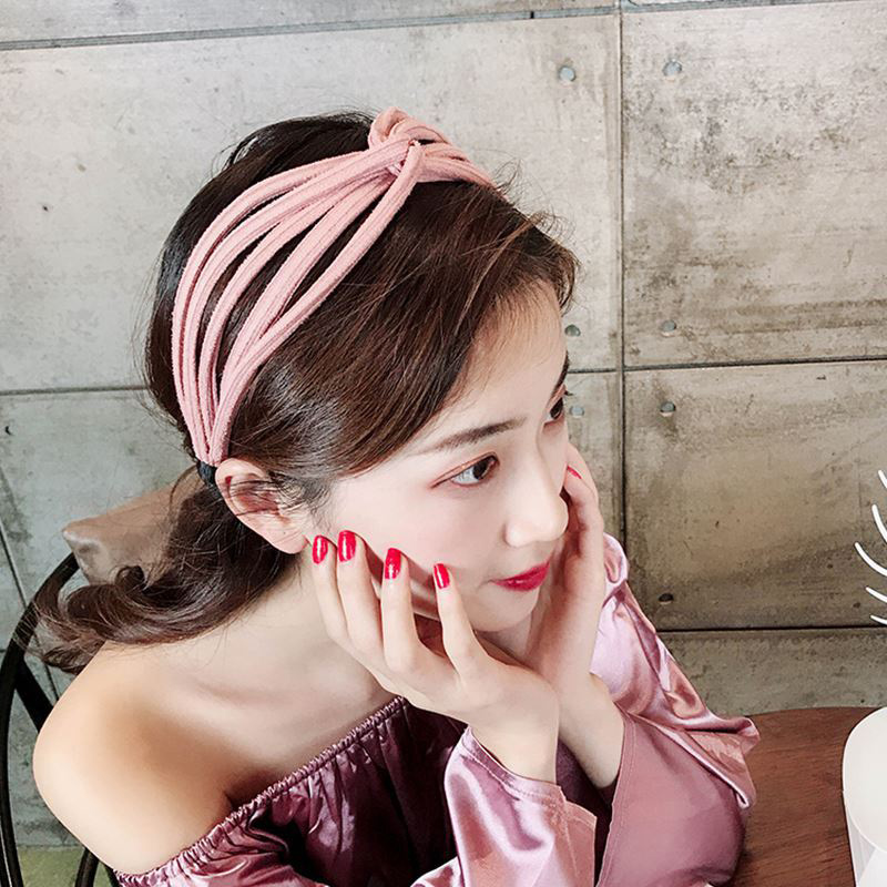 Summer Yellow Wide headband For Women Simple Versatile Fabric Hair Band Female Wash Face Hoop,Pink