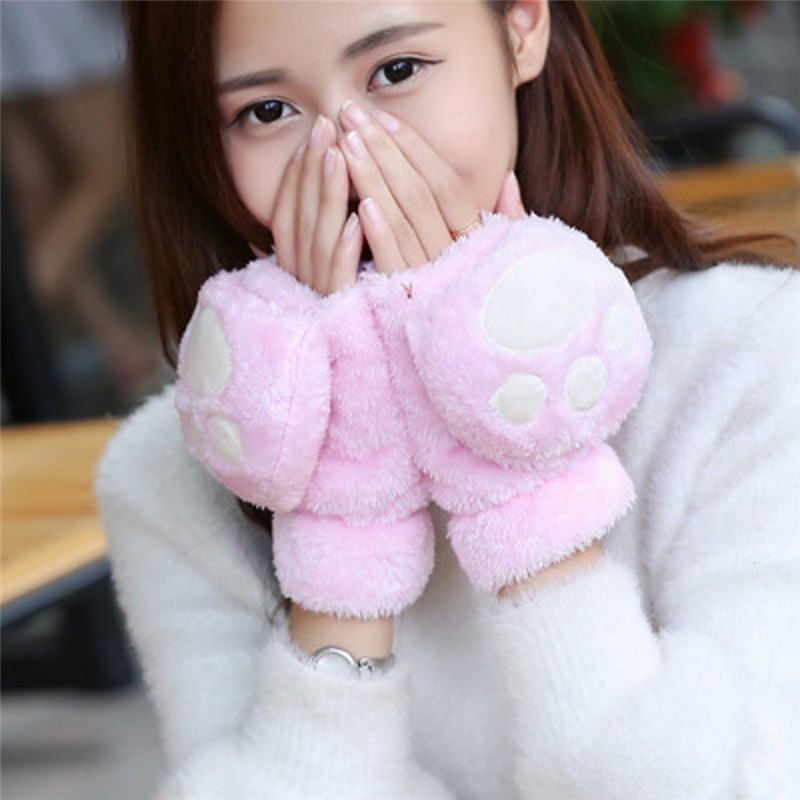 Hot Sale Women Lovely Cat Claw Paw Mitten Cotton Glove Costume Cute Winter Warm Half Finger Gloves Women Female Gloves Mitten