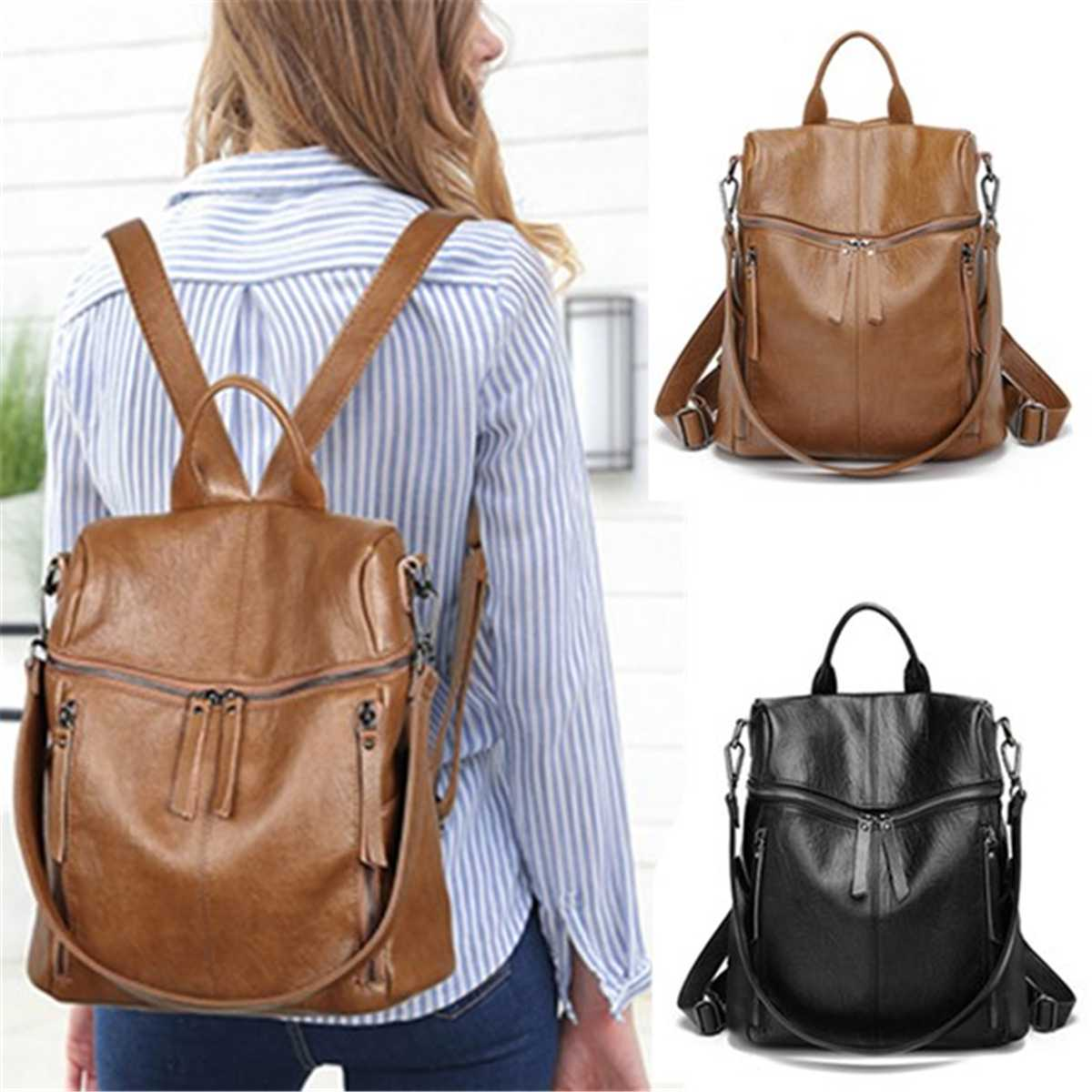 Female Large Capacity Travel Pack Bags Genuine Leather  Vintage Women Backpack School Backpacks For Teenage Girls Shoulder Bag