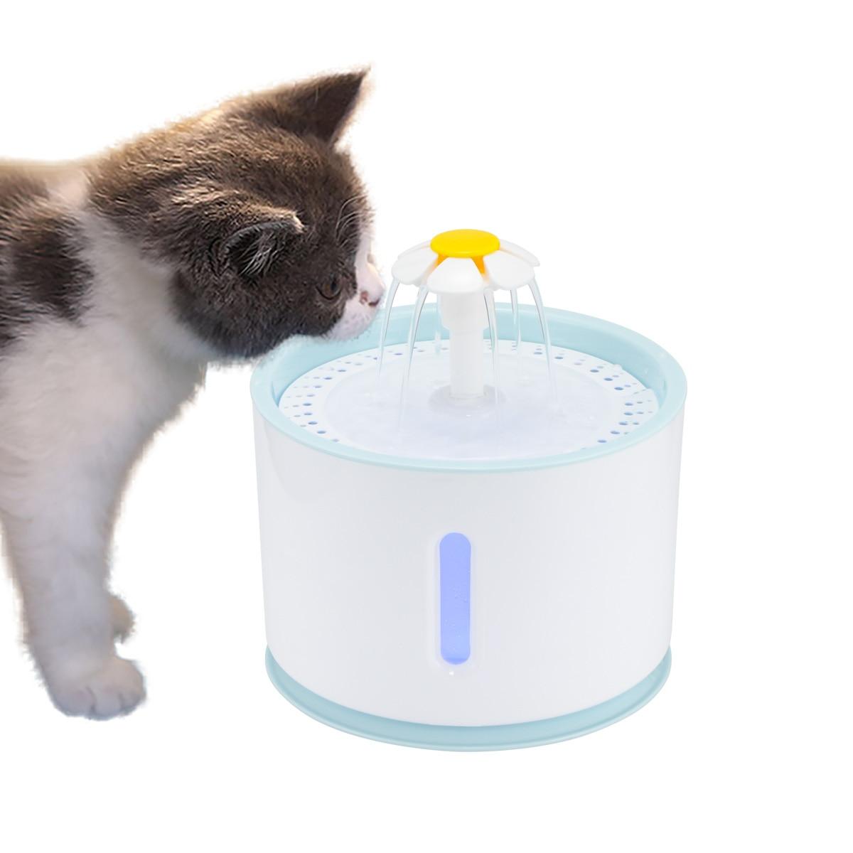 2.4L automática gato fuente de agua con eléctrica LED USB perro gato mascotas mudo alimentador de bebedero de tazón de fuente de beber para mascotas dispensador