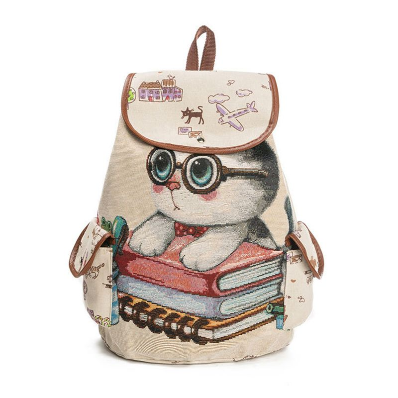 Canvas Backpack Cartoon Cat Pattern School Bag Pockets Vintage Bag Travel Drawstring Backpack 3#