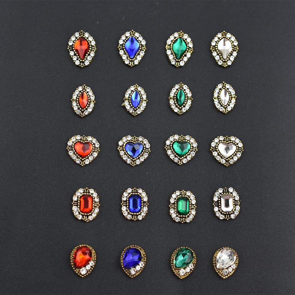 10 Pcs/Lot alliage ongles charme cristal diamants pierre strass nail art décorations bijoux accessoires strass nouveauté 2018