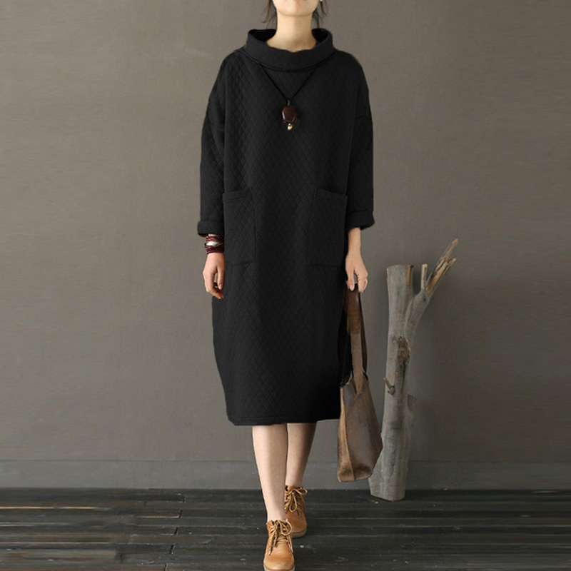 Fashion Mid-Calf Vestido Stand Neck Dress Solid Pullover Sweatshirt Long Dress Casual Simple Straight Full Sleeve Midi Dresses
