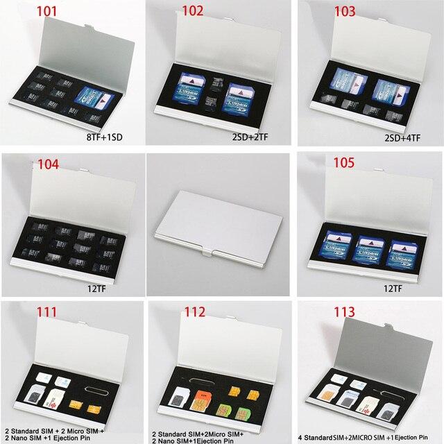 10 tipos de Alumínio Portátil Cartão de Memória TF Cartão Micro SIM DO Cartão SIM Pin Nanocard SDcard Protetor Caso Caixa de Armazenamento Titular sliver
