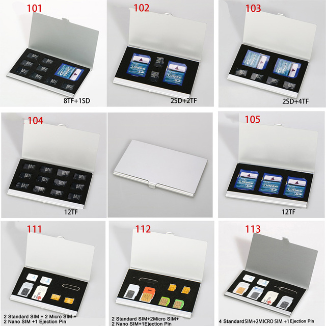 10 tipos de aluminio portátil SIM Micro Pin tarjeta SIM Nanocard tarjeta de memoria TF tarjeta SDcard caja de almacenamiento funda protectora plata