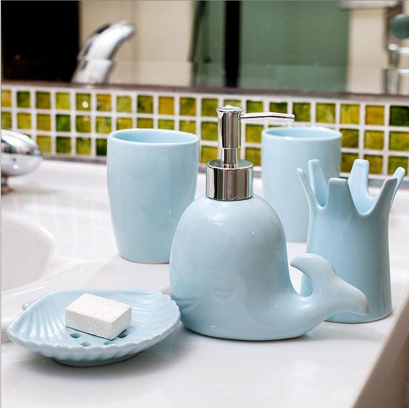 Accueil, ensembles de salle de bains en céramique bouteilles de bande dessinée de Lotion boîte à savon porte-brosse à dents, accessoires de salle de bains, appareils de salle de bains - 2