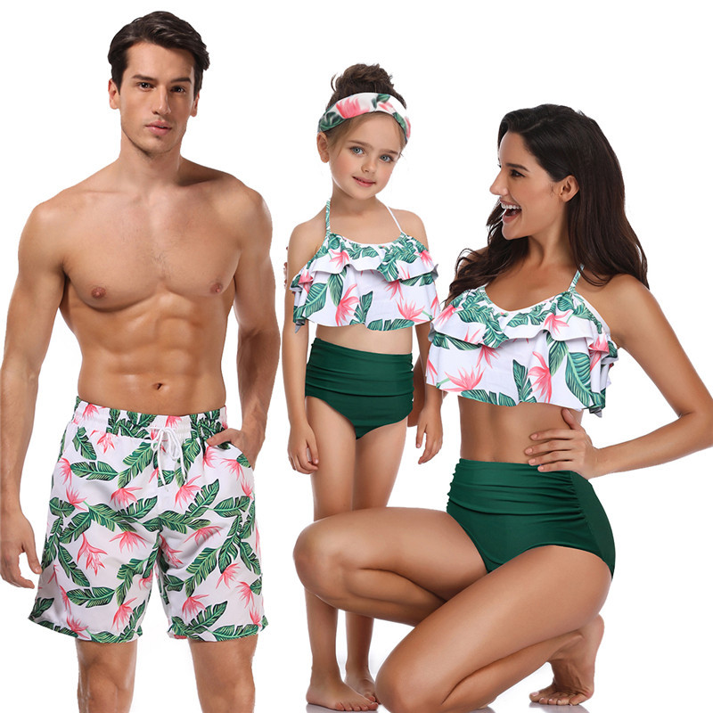 Bikini Beach Shorts Matching Swimsuit Mommy And Me Clothes Mum Mother And Daughter Son Outfits Look Family Matching Swimwear