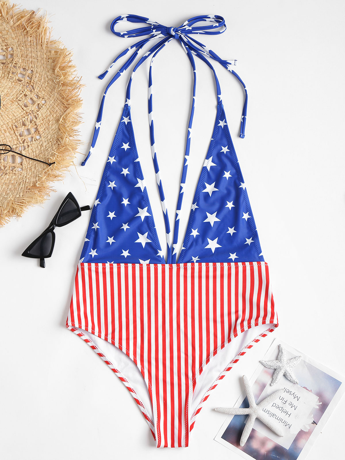 Belleziva Fashion American Flag Strappy Plunge Swimsuit