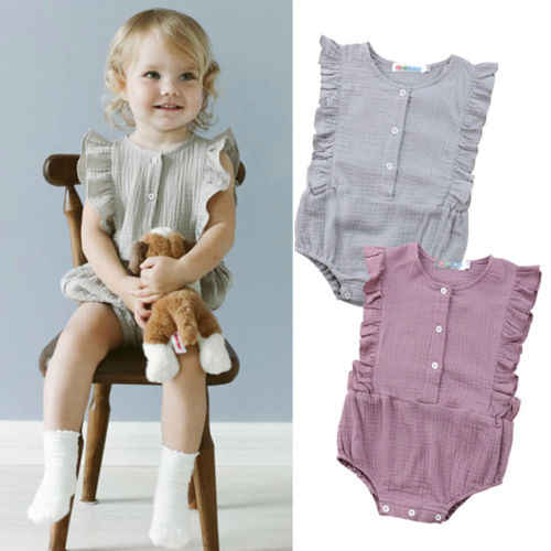 7ce1d40d672 Detail Feedback Questions about Princess Baby Girls Ruffles Rompers Solid  Vintage Baby Girls Cotton Jumpsuit Baby Summer Clothing on Aliexpress.com  ...
