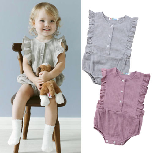 Princess Baby Girls Ruffles Rompers Solid Vintage Baby Girls Cotton Jumpsuit Baby Summer Clothing