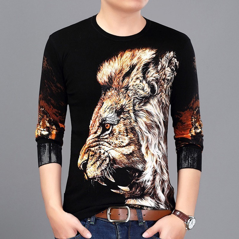 Fashion Lion Head Painting Sweater Pullover Erkek Kazak Men Slim Fit Pull Homme Chompas Hombre Pullover Men 2019 Spring Clothes